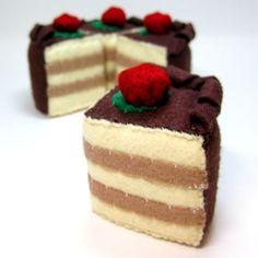 Wool Felt Food Cake  Chocolate Raspberry Cake by bugbitesplayfood, $12.00