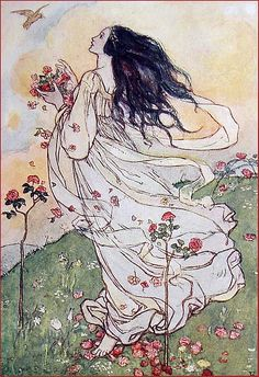 The Druid Erin. She is the sister of Eso know as goddess of frost and Felfoth god of winter. Although they are not gods of any sort they are ageless and extremely powerful, able to hold sway over the balance of nature. Illustration by Florence Harrison.