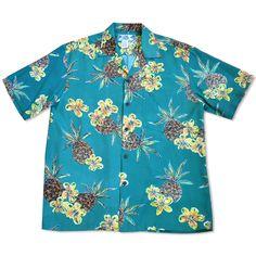Pineapple Green Hawaiian Rayon Shirt