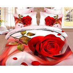 vier stuk 3d rose bloemenprint dekbed set - EUR € 33.93
