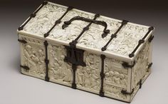 Imagine receiving this priceless, courtship box, dated 1300-1350, carved with scenes from romances and literature of the day.  Each panel represents the courtly ideals of love and heroism