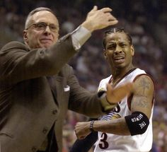 Allen Iverson and Larry Brown (l.) have a love-hate relationship in the City of Brotherly Love.