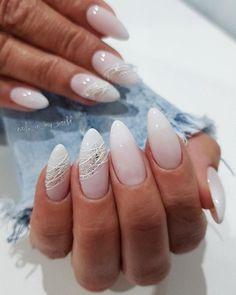 Shiny Nails, Silver Nails, Oval Nails, Classy Nails, Stylish Nails, Trendy Nails, January Nail Colors, Nagellack Design, Bride Nails