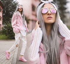 Gina Vadana - Freyrs Sunnies, Yru Trainers, Vintageena Shop Pink Coat - LOOSE ME   LOOKBOOK
