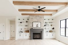 Living Spaces - Oakstone Homes Fireplace Built Ins, Home Fireplace, Fireplace Remodel, Fireplace Design, Fireplace With Cabinets, Fireplaces, Living Room Remodel, My Living Room, Home And Living
