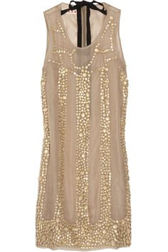 MARNI  Embellished silk-voile dress