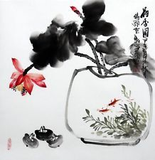"""Chinese painting birds flowers fish lotus water-lily 19x20"""" traditional ink art"""