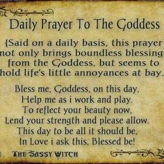 Daily prayer to the goddess, wiccan, pagan Witch Spell Book, Witchcraft Spell Books, Magick Spells, Healing Spells, Luck Spells, Witchcraft Symbols, Wiccan Books, Moon Spells, Green Witchcraft