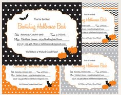 Printable Editable Halloween Party Invitations Instant Download by ThumbAlinaLane