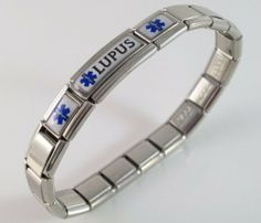 Lupus Medical ID Alert Italian Charm Bracelet Enamel Ailment Bracelets. $28.99. you will receive instructions on how to take out or add links or charms. stainless steel bracelet, stretches over your wrist. links or charms can be taken out, more added, moved around. medical charm is hand crafted. FREE sizing of your bracelet
