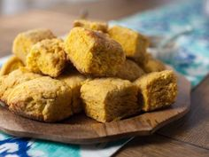 Get Sweet Potato Biscuits Recipe from Food Network- use vegan butter and almond milk with apple cider vinegar instead of buttermilk Food Network Recipes, Food Processor Recipes, Cooking Recipes, Trisha's Southern Kitchen, Southern Dishes, Southern Food, Sweet Potato Biscuits, Buttermilk Biscuits, Salted Butter