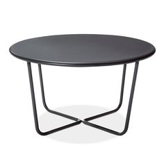 • Steel finished in gray<br>• Round tabletop<br>• Tube frame<br>• Modern design<br>• Sturdy construction<br><br>Inspired by line drawings, the Outdoor Side Table from Modern by Dwell Magazine was designed with a slim base so that it won't block the view of the landscape. This patio side table pairs perfectly with the couch, lounge chairs and posture chairs in the collection.