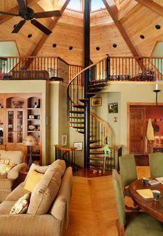 15 AntiMainstream Living Space Design From Grain Bin House Yurt home, Yurt living, Octagon house Yurt Living, Tiny House Living, Yurt Interior, Interior Design, Farmhouse Interior, Interior Modern, Octagon House, Silo House, Yurt House