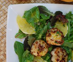 Cheese Please: Coriander Scallops with Orange Ginger Dressing