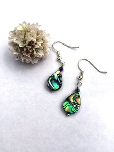 Abalone drop earring with crystal от BeadifulByJill на Etsy