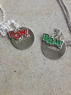 Joker Harley Bam Pow BFF necklaces. $27.50, via Etsy.