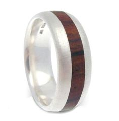Silver ring with cocobolo wood inlay