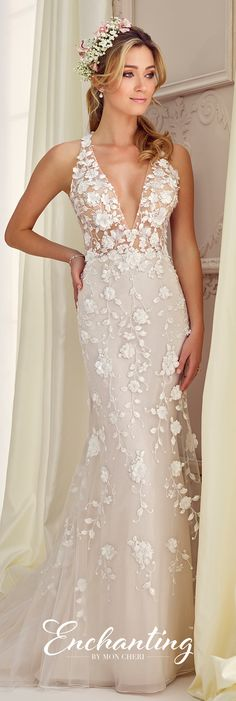 Enchanting by Mon Cheri Fall 2017 Collection - Style 217109 - sleeveless fit and flare wedding dress with illusion extreme deep V-neckline and bodice accented with three-dimensional flowers and keyhole back