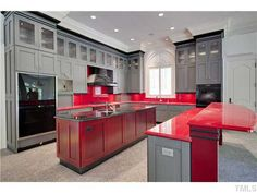 Different Take On The Modern Red U0026 Gray Kitchen Part 27