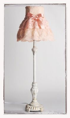 Beautiful Vintage Pink Shabby Lace Table Lamp