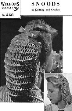 Knitting Crochet Pattern 1940s Snood Hair Net