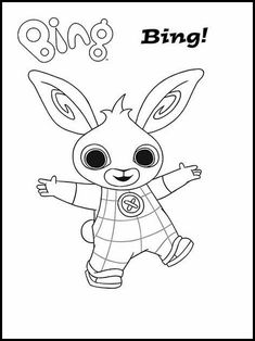 Bing Bunny Printable Coloring Pages - Hase Bunny Coloring Pages, Coloring For Kids, Printable Coloring Pages, Colouring Pages, Coloring Sheets, Coloring Books, Bunny Party, Elmo Party, Bing Hase