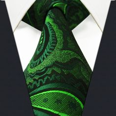 S18 Paisley Floral Dark Green Black Mens Neckties Ties 100% Silk Extra Long Jacquard Woven Brand New from Duckxin,$5.65   DHgate.com