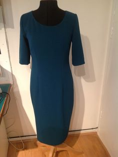 McCalls shift dress made in teal crepe from Lewisham Market per metre. You can make this dress with of fabric. Had to adjust the pattern to fit, but now it fits perfectly! Long Tunics, Mccalls Patterns, Dressmaking, Perfect Fit, Sewing Crafts, Teal, High Neck Dress, Couture, Fabric