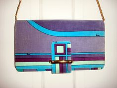 Vintage 1960s 70s Emilio Pucci Velvet Handbag Purse, purple and blue geometric design