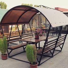Pergola Kits Home Depot Welded Furniture, Iron Furniture, Diy Outdoor Furniture, Steel Furniture, Garden Furniture, Furniture Design, Banco Exterior, Patio Design, Garden Design