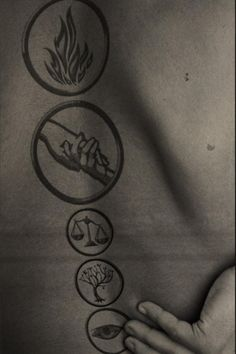 Dauntless, Abnegation, Candor, Amity, Erudite. Four's tattoos. AHHHHHHH Love it!