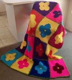 Bold Flowers Handmade Crochet Blanket by WeAreFamilyHeath on Etsy, $80.00