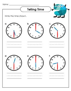 Practice telling time with this free worksheet today! #freeworksheets #tellingtime #tellingtimepractice #printableclocks