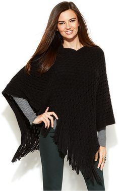 INC International Concepts Open-Knit Fringed Poncho is on sale now for - 25 % !