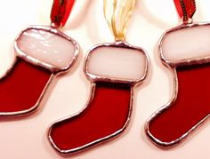 Red Christmas Stocking Handmade Stained Glass by JBsGlassHouse