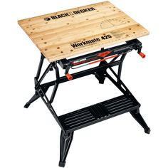 BLACK+DECKER Workmate 425 30 in. Folding Portable Workbench and Vise. Versatile for use as a workbench, clamp or vise. Advanced, Clamp system with exclusive clutch design for easy clamping. Woodworking Bench Vise, Woodworking Supplies, Fine Woodworking, Woodworking Projects, Woodworking Garage, Portable Workbench, Workbench Plans, Workbench Stool, Garage Workbench