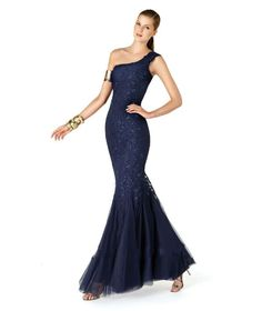 Cheap Mermaid One Shoulder Navy Blue Long Prom Dress Free Measurement
