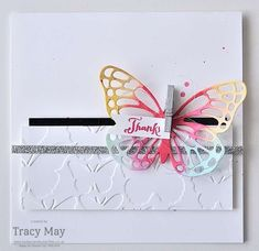 Fluttering Embossing Folder with Butterflies Thinlits from Stampin' Up! Tracy May #CCMC399