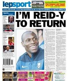 Lancashire Evening Post back page - 07/08/14 - I'm Reid-y to return