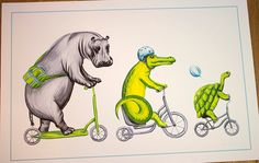 Hippo, crocodile and turtle on bicycle print 12x18 by Amelie Legault on Etsy $24.00 Click here to buy:  https://www.etsy.com/ca/listing/218407411/hippo-crocodile-and-turtle-riding?ref=shop_home_active_13 #hippo #bicycle #crocodile #turtle #amelielegault #print #for kid #tortue