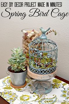 Make this easy DIY decor project in minutes --> Spring Bird Cage from SewWoodsy.com #MPinterestParty