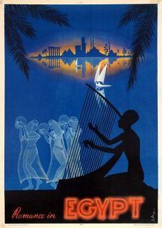 Romance In Egypt Midcentury Modern 1950s - original vintage travel poster by M Azmy listed on AntikBar.co.uk #vintagetravelposters