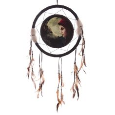 Fantasy Wolf and Woman Design Medium Dreamcatcher 33cm Moon Struck - Artist Lisa Parker Dreamcatchers are a great way to add colour and design to