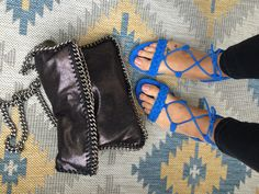 Mango blue lace up sandals and chain bag in silver metallic