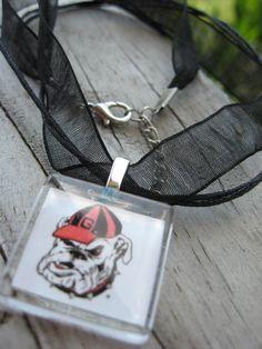 UGA Georgia Bulldogs square glass pendant ribbon necklace. $7.99, via Etsy.