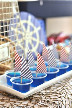 Jello Shots for my nautical bachelorette party theme :) First Birthday Parties, Boy Birthday, First Birthdays, Sailor Birthday, Baby Shower Themes, Baby Boy Shower, Shower Ideas, Baby Shower Marinero, Sailing Party