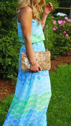 Lilly Pulitzer Dusk Strappy Silk Maxi, worn by @Marissa // Style Cusp