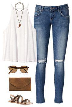 Musculosa blanca + Jean + sandalias marrones + sobre marrón
