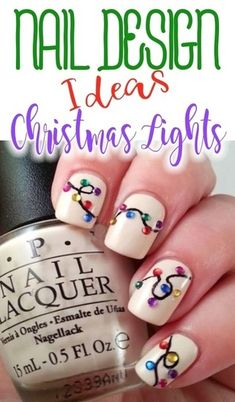 Super cute nail art design for Christmas. Real rhinestone stickers to create the Christmas lights. In case you want to try to recreate this design. Listed are what I think the designer used: OPI color: Snow Glad To Meet You or OPI color: Ornament to b Classy Nail Designs, Cute Nail Art Designs, Toe Nail Designs, Nails Design, Nail Art Diy, Diy Nails, Super Cute Nails, Nagel Hacks, Nails For Kids