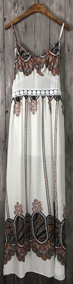 Women's Casual Boho Spaghetti Strap Side Slit Maxi Dress